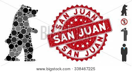 Mosaic Standing Bear Icon And Corroded Stamp Seal With San Juan Text. Mosaic Vector Is Designed With