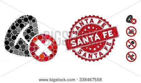 Mosaic Stop Meat Eating Icon And Grunge Stamp Seal With Santa Fe Text. Mosaic Vector Is Designed Wit