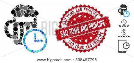 Mosaic Time To Drink Beer Icon And Grunge Stamp Seal With Sao Tome And Principe Phrase. Mosaic Vecto