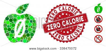 Mosaic Zero Calories Apple Icon And Distressed Stamp Seal With Zero Calorie Phrase. Mosaic Vector Is