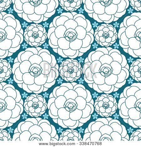 Camellias And Cherry Blossoms Blue Monochrome Floral Pattern. Modern Japanese Floral Print Vector De