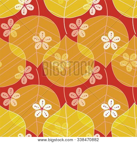 Cherry Blossoms And Camellia Leaves Pattern. Modern Japanese Floral Print In A Colorful Graphic Styl