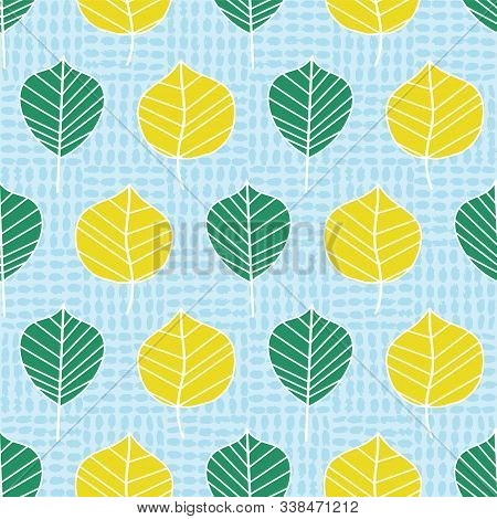 Colorful Graphic Camellia Leaf Pattern In A Stylized Flat Style On Oval Dot Textured Background. Sea