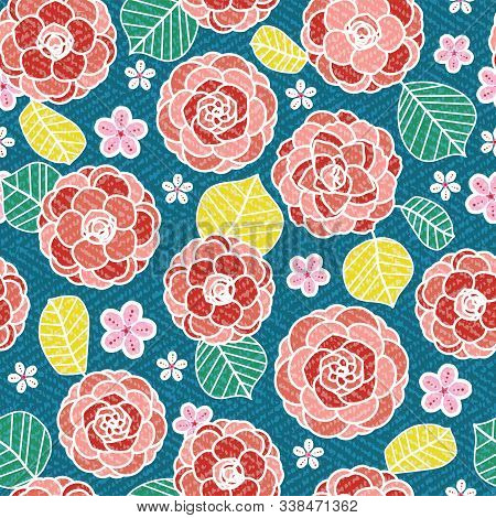 Camellia And Cherry Blossom Pattern. Modern Japanese Floral Print In A Colorful Graphic Flat Style.