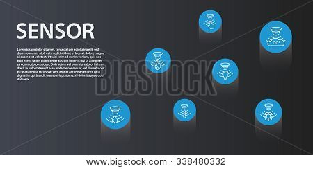 Sensor Infographics Vector Design. Timeline Concept Include Flame Detector, Gas Sensor, Light Sensor