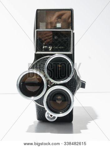 london, england, 05/05/2019 A rare Vintage Fujica 8 T3 8mm Cine Camera. 8mm movie analogue film trip