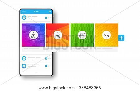 Ranking Star, Copyrighter And Time Management Line Icons Set. Interface Carousel. Safe Energy Sign.