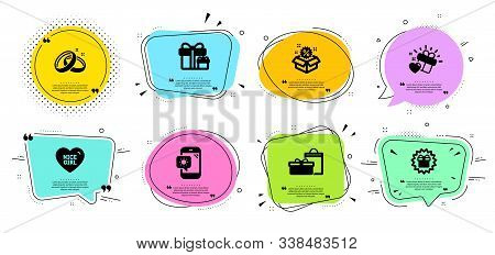 Weather Phone, Nice Girl And Wedding Rings Line Icons Set. Chat Bubbles With Quotes. Surprise Packag