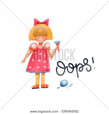 Confused Girl Character. Girl Dropped A Ball Of Ice Cream. Puzzled, Amazed Young Lady In Doubt Looki