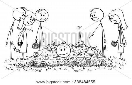 Vector Cartoon Stick Figure Drawing Conceptual Illustration Of Buried Alive Man Coming Out Of The Gr