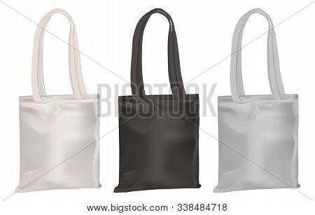 Eco Tote Mockup. Cotton Canvas Bag Shopping Template Blank. Realistic Fabric Textile Handbag For Cor