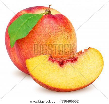 Isolated Peaches (nectarines). Beautiful Whole Nectarine Fruit With Leaf And Slice Of Fresh Nectarin