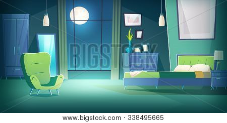Bedroom Interior At Night Cartoon Vector Illustration. Comfortable Living Room Interior In Moonlight
