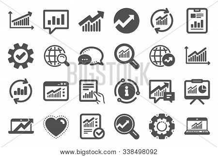 Analytics, Statistics Icons. Set Of Chart, Report Document And Graph Icons. Data Analytics, Presenta
