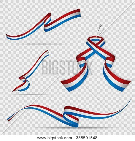 Flag Of Netherlands. 5th Of May. Set Of Realistic Wavy Ribbons In Colors Of Dutch Flag On Transparen