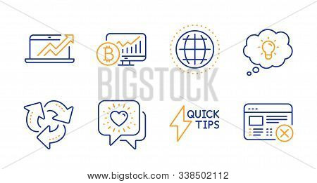 Bitcoin Chart, Quickstart Guide And Friends Chat Line Icons Set. Globe, Energy And Recycle Signs. Sa