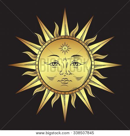 Antique Style Gold Sun Hand Drawn Line Art. Boho Chic Tattoo, Poster, Altar Veil, Tapestry Or Fabric