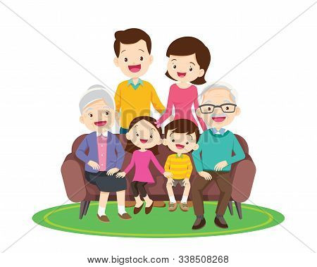 Big Happy Family Sitting On The Sofa. Grandmother, Grandfather, Father, Mother, Children Ector Illus