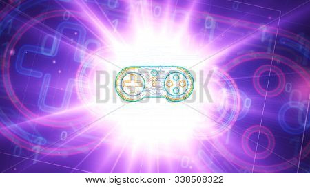 Esport Cyber Game Futuristic 3d Rendering Illustration. Abstract Digital Intro Background. Concept O