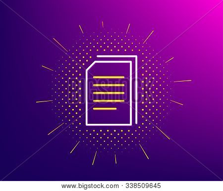 Copy Documents Line Icon. Halftone Pattern. Copying Files Sign. Paper Page Concept Symbol. Gradient