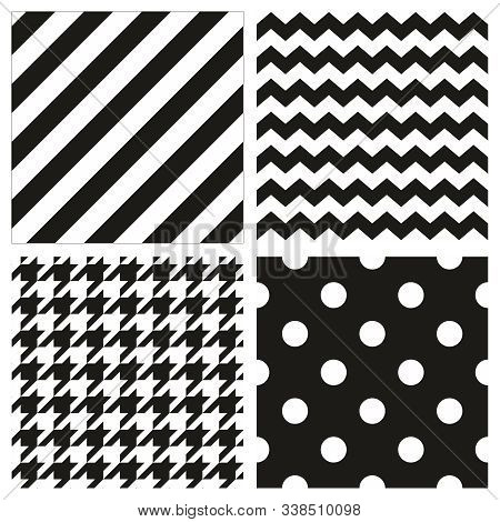 Seamless Black And White Vector Pattern Or Tile Background Set With Polka Dots, Zig Zag And Hounds T