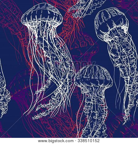 Seamless Pattern With Jellyfish. Sealife Illustration. Hand Drawn Vector On Navy Blue Background.