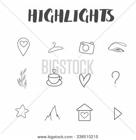 Set of vector icons for your business, scrapbooking, bullet journalling, story buttons. Vector set design templates icons and emblems - social media story highlight.