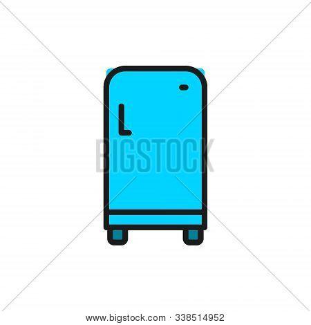 Retro Fridge, Single Compartment Refrigerator Flat Color Line Icon.