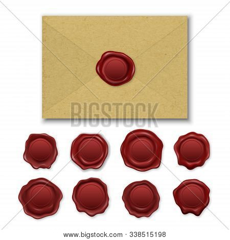 Vector Realistic Brown Craft Envelope, Vintage Retro Stamp Wax Seal Set Closeup Isolated On White Ba