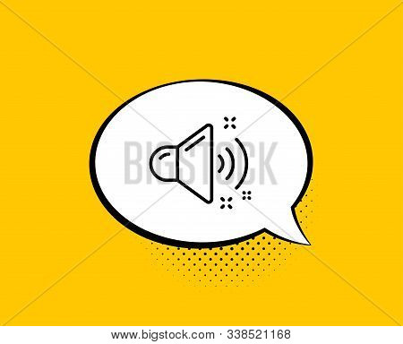 Loud Sound Line Icon. Comic Speech Bubble. Music Sound Sign. Musical Device Symbol. Yellow Backgroun