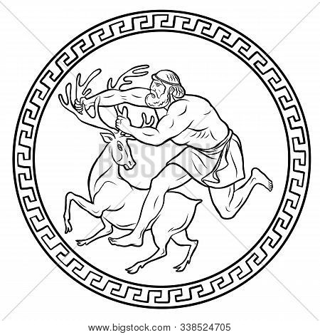 Ceryneian Hind. Cerynitis Or The Golden Hind. 12 Labours Of Hercules Heracles. Myths Of Ancient Gree