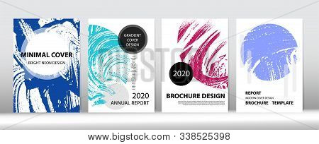 Minimal Cover Vector Design. Funky Cover Set. Distressed Hand Painted Business Booklet. Fluid Foam W