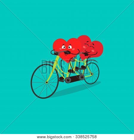 Cute Couple Hearts On Bicycle. Valentine Day Greeting Card. Vector Illustration Of Kawaii Character