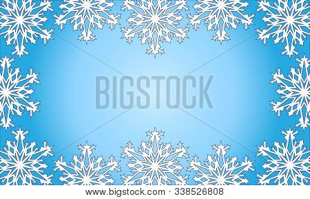 Christmas Frame Of Snowflakes. Beautiful Background. Vector Illustration. Applied Clipping Mask.