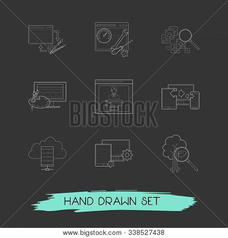 Set Of Webdesign Icons Line Style Symbols With Website Design, Image Search, Hosting And Other Icons