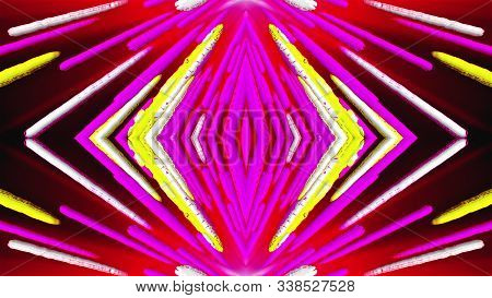 Merging Colorful Stripes At An Angle, Computer Generated. 3d Rendering Of Symmetrical Background