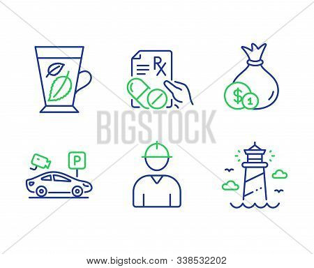 Cash, Prescription Drugs And Mint Leaves Line Icons Set. Parking Security, Engineer And Lighthouse S