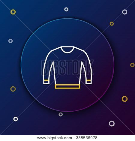 White And Yellow Line Sweater Icon Isolated On Dark Blue Background. Pullover Icon. Colorful Outline