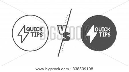 Helpful Tricks Sign. Versus Concept. Quick Tips Line Icon. Tutorials With Lightning Or Energy Symbol