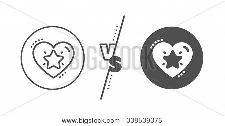 Love Rating Sign. Versus Concept. Ranking Star Line Icon. Best Rank Symbol. Line Vs Classic Ranking