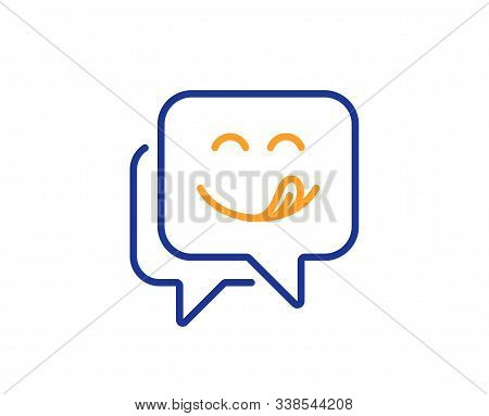 Emoticon With Tongue Sign. Yummy Smile Line Icon. Speech Bubble Symbol. Colorful Outline Concept. Bl