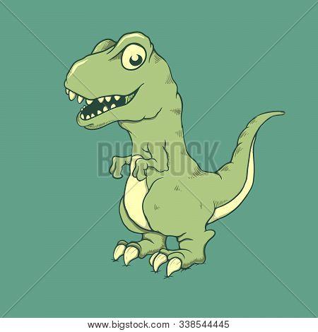 Cute Little Dinosaur Raptor.cartoon Style. Vector Illustration