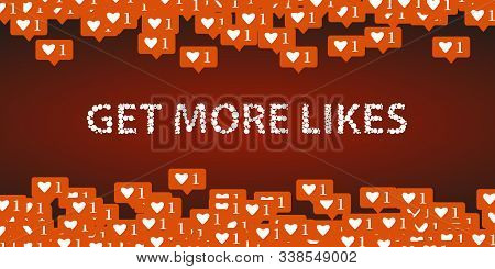 Social Network Icons Illustration Get More Likes. For Internet, Advertisement, Promotion, Marketing,