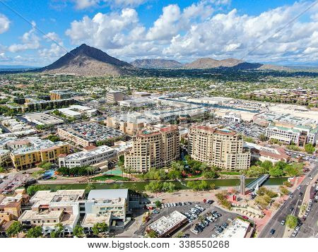 Aerial View Of Mega Shopping Mall In Scottsdale, Desert City In Arizona East Of State Capital Phoeni
