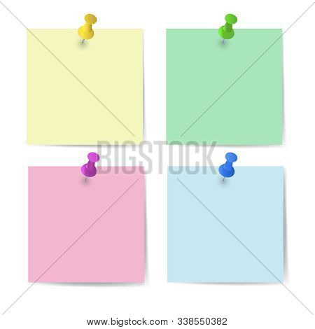 Memo Paper With Pins For Office Paperwork. Fastener, Paperclip With Blank Notepaper. Attaching Binde