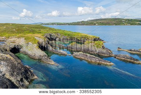 West Cork coast, view from the Copper Point Lighthouse, Long Island, County Cork. West Cork, Ireland