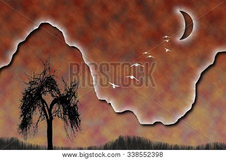 Composition with naked tree in mountains. Birds flies to the full moon. Mystic Nature. 3D rendering