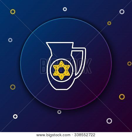 White And Yellow Line Decanter With Star Of David Icon Isolated On Dark Blue Background. Pottery Jug