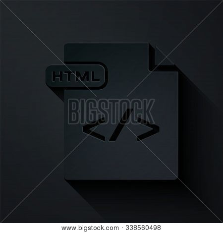 Paper Cut Html File Document. Download Html Button Icon Isolated On Black Background. Html File Symb