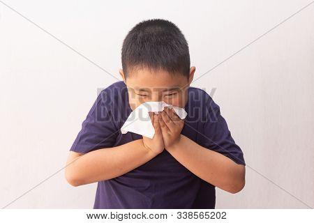 Asian Boy Cold Flu Illness Tissue Blowing Runny Nose